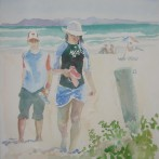 Couple leaving the Pipe Beach in Strand